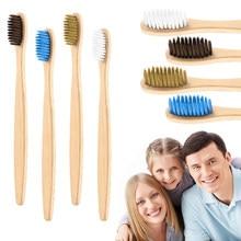 1 pièces coloré respectueux de l'environnement brosse à dents en bambou soins buccaux poignée en bambou poils souples brosse à dents blanchiment brosse à dents