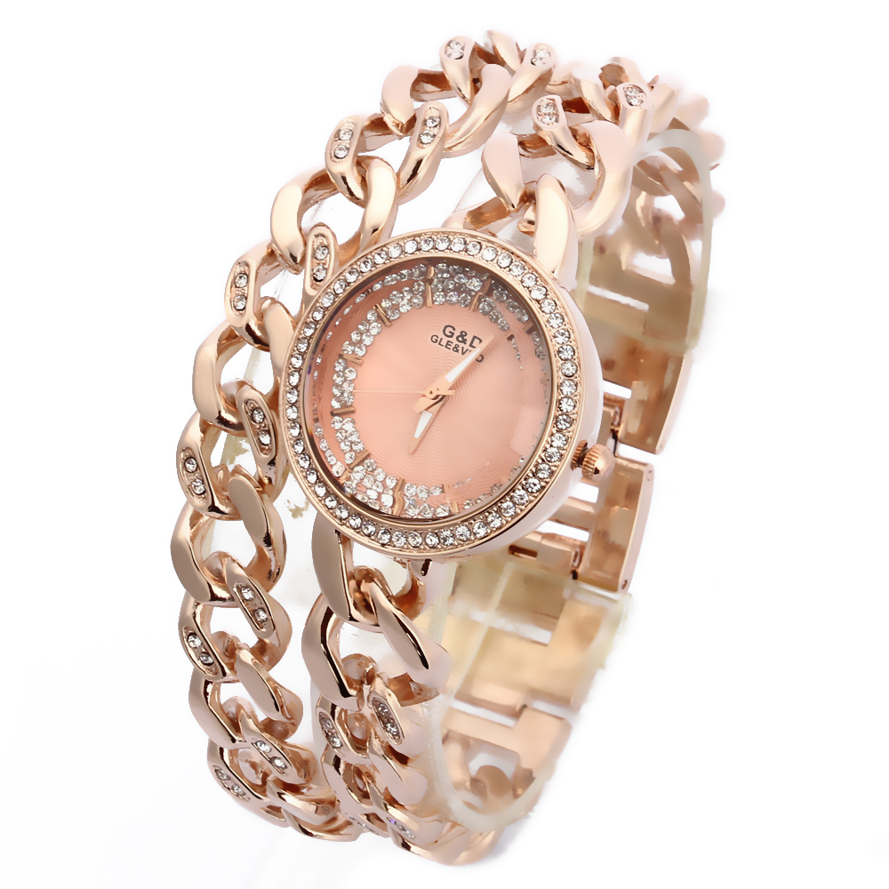 2016 New Fashion Women 39 s Wrist Watch Analog Quartz Watches Stainless Steel Band Rhinestone Double Chain Rose Gold in Women 39 s Watches from Watches