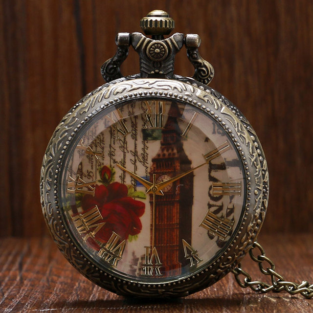 Vintage High Quality Glass Transparent Cover London Tower Big Ben Pocket Watch E