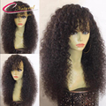 130% Density Afro Kinky Curly Human Hair Full Lace Wig Unprocessed Kinky Curly Human Hair Glueless Front Lace Wigs With Bangs