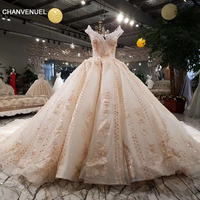 LSS001 Luxury Wedding Dress Beading Ball Gown Off The Shoulder Lace Up Flowers Bridal Gowns Cathedral