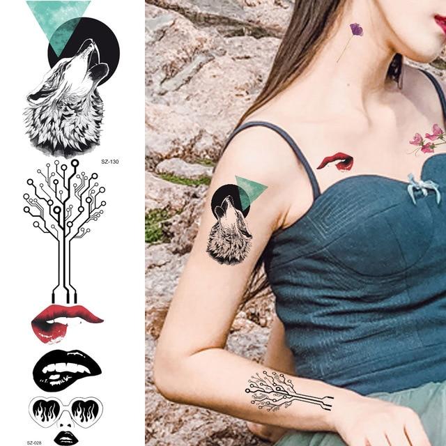 258ee1de9 Sexy Women Temporary Tattoo Stickers Black Wolf Small Tree Totem Fake Tatoo  Men Body Arm Roaring