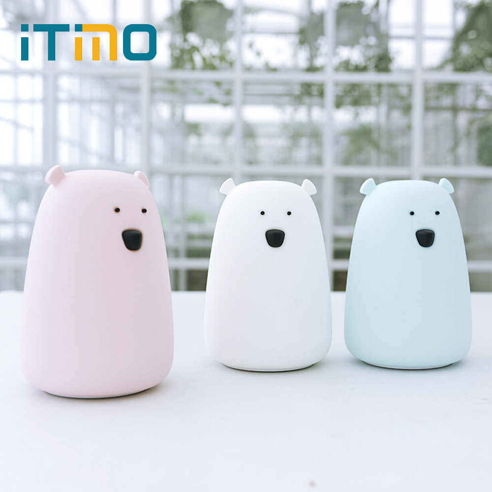 iTimo Cute Night Light Bedside Lamp Rechargeable Bear LED Silicone Light 2 Modes Touch Sensor Light Colorful Children Kid Gift