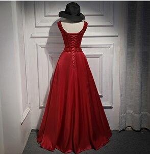 Image 5 - Spacer obok ciebie burgundowe suknie wieczorowe długie 2020 złota satynowa wyszywana kryształkami V neck vestido de fiesta largos de noche elegante