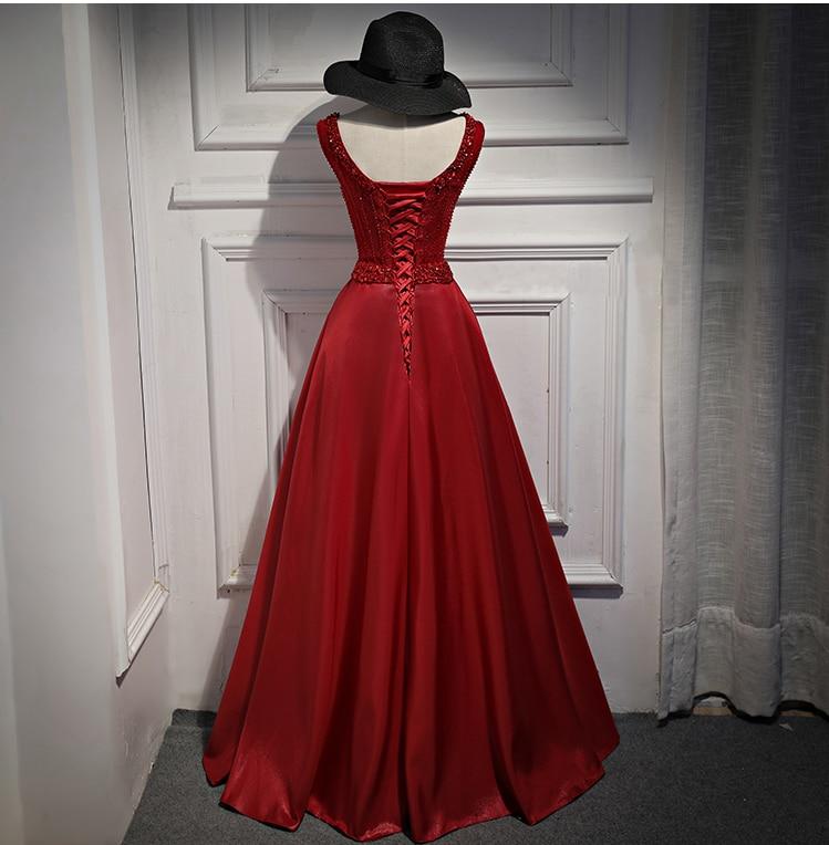 Image 5 - Walk Beside You Burgundy Evening Dresses Long 2020 Gold Satin  Beaded Crystal V neck vestido de fiesta largos de noche eleganteevening  dresses longburgundy evening dressevening dress