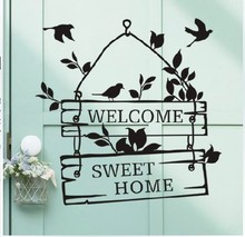 Welcome To Sweet Home Bird Wall Mural For Home Decor Living Room Decoration Wallpaper Removable Vinly Art Wall Sticker Y-327 hot sale welcome sweet home wall sticker for living room