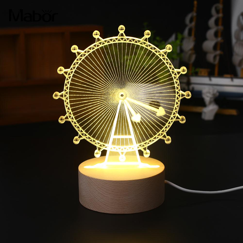 Exquisite Bright Night Light LED Light Modeling Lamp 110V Warm White Ferris Wheel Gift H ...