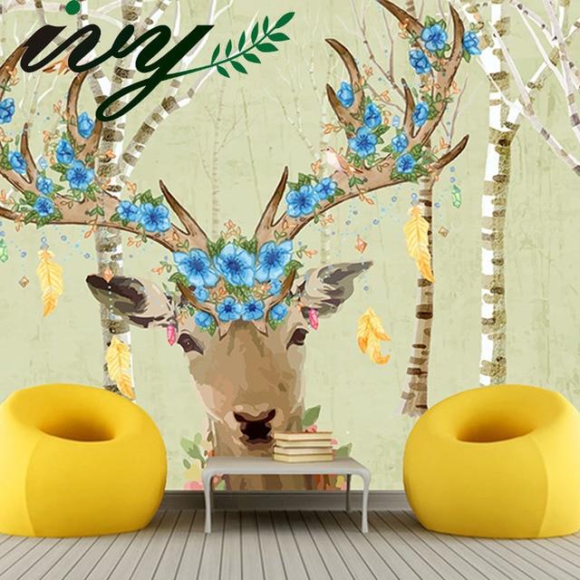 Ivy Morden Cartoon Deer Tapete Blumen Kinderzimmer Tapeten Kinder