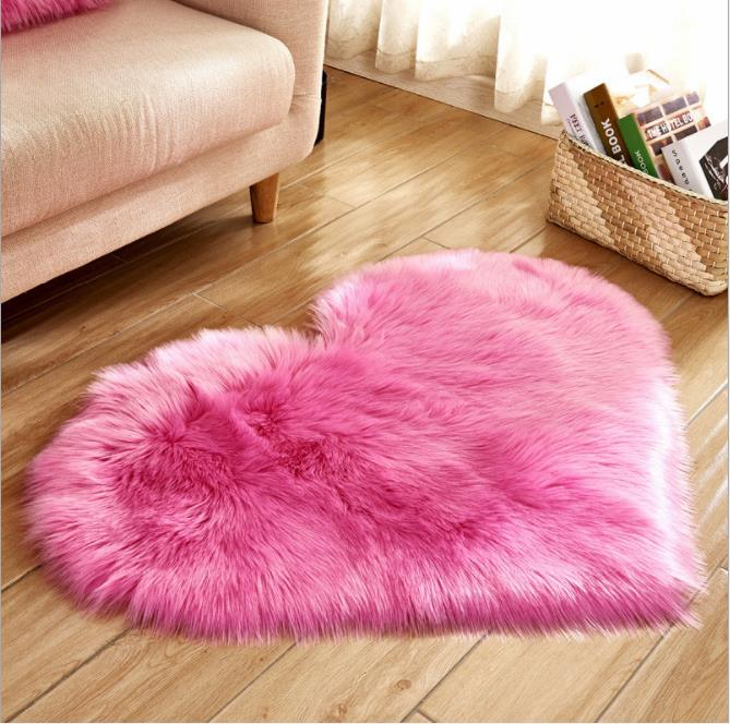 Love Heart Rugs Artificial Wool Sheepskin Hairy Carpet Faux Floor Mat Fur Plain Fluffy Soft Area Rug Tapetes