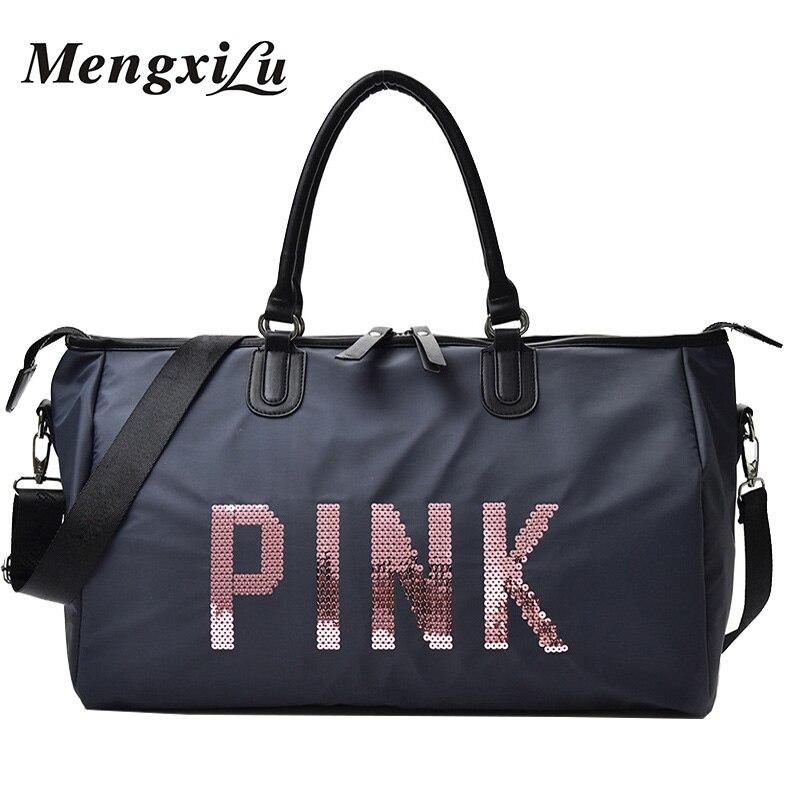 2018 Ladies Travel Bag Large Capacity Hand Luggage Travel Duffle Bags Sequins Portable Female Handbag Weekend Waterproof Wash цена 2017