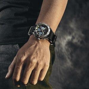 Image 4 - GOLDENHOUR montre bracelet pour hommes, montre bracelet analogique en toile, numérique à double affichage, étui en argent, à la mode Sports de plein air, style militaire