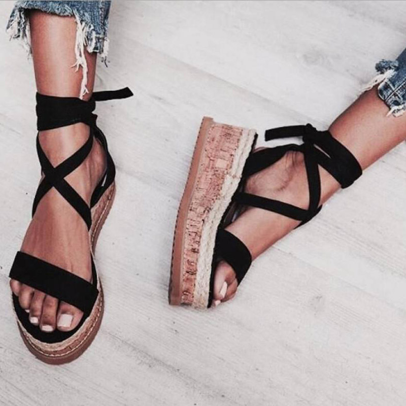 Platform Sandals Espadrilles Rome-Shoes Lace-Up White Wedge Casual Women Ladies Open-Toe