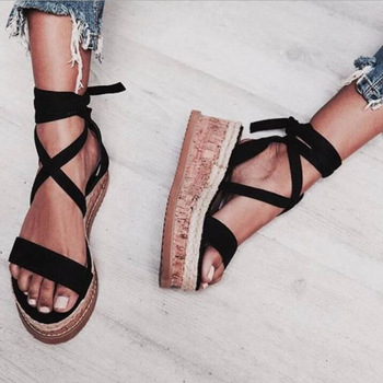 Summer Sandals Women White Wedge Espadrilles Open Toe Rome Shoes Gladiator Sandals Ladies Casual Lace Up Female Platform Sandals 2017 new fashion hgh top women sandals rome styles open toe summer beach shoes slip on female buckles sandals