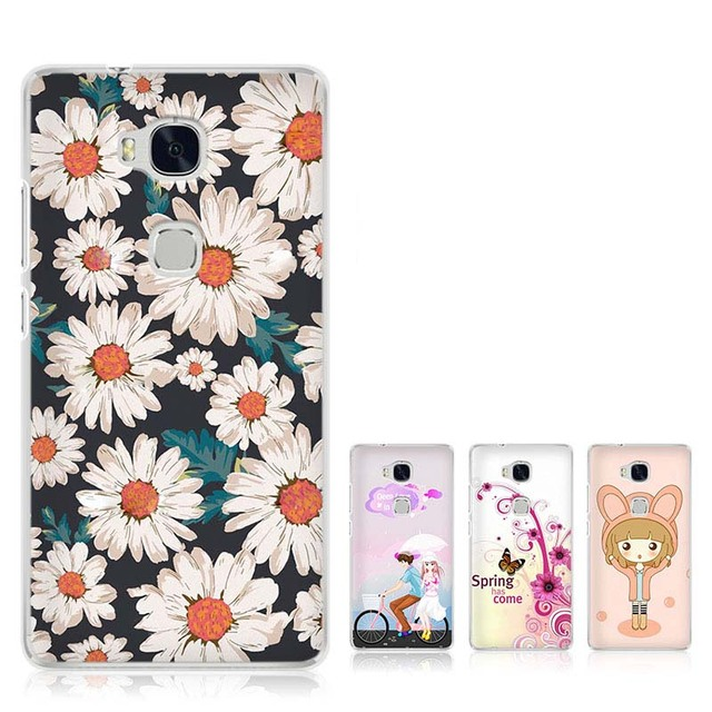 reputable site ab71b e77d8 US $1.01 49% OFF|Huawei Honor 5X Case Cover Cartoon Plastic Transparent  border Back Cover Phone Case For Huawei Honor 5X-in Half-wrapped Case from  ...
