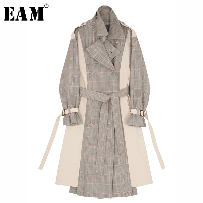 [EAM] 2019 Spring Winter Woman Stylish Hit Color Spliced Plaid Turn-down Collar Adjustable Waist Long Loose   Trench   Coat LE572