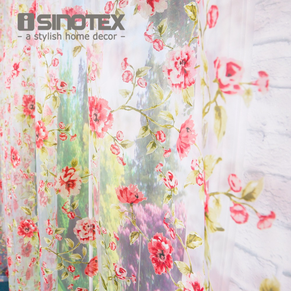 Isinotex window curtain red red floral burnout for Sheer galaxy fabric