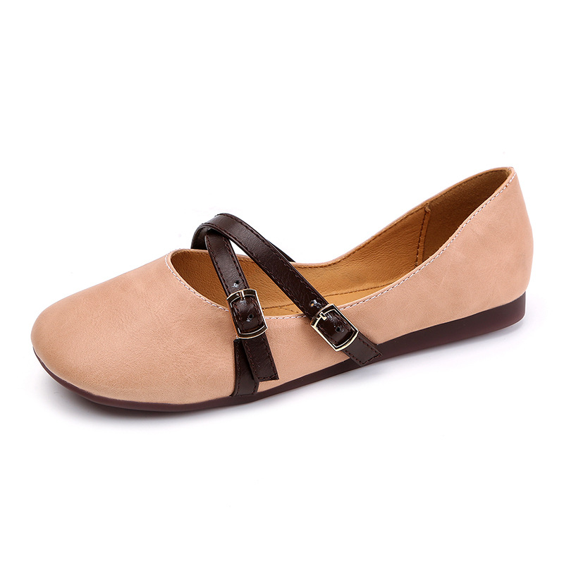 цены 2017 Summer New Casual Ballet Flat Shoes Fashion Retro Square Toe Buckle Strap Women's Shoes