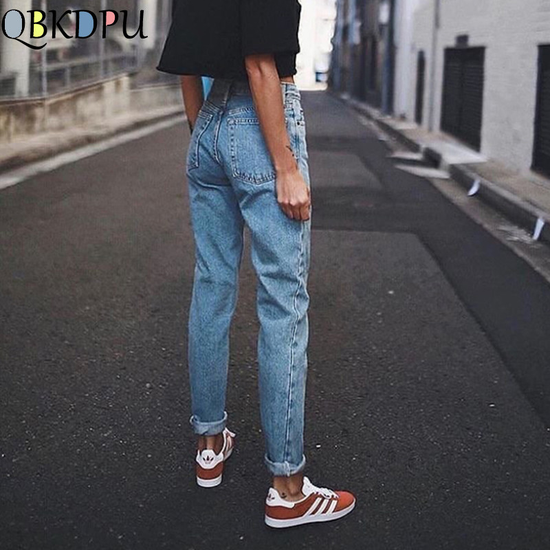 Vintage Ladies Boyfriend Jeans For Women Mom High Waisted Jeans Blue Casual Pencil Trousers Female Korean Streetwear Denim Pants