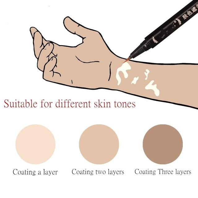 Piel oculta Vitiligo impermeable larga duración Natural manchas blancas maquillaje de camuflaje pluma en la cara brazo cuerpo para Mujeres Hombres