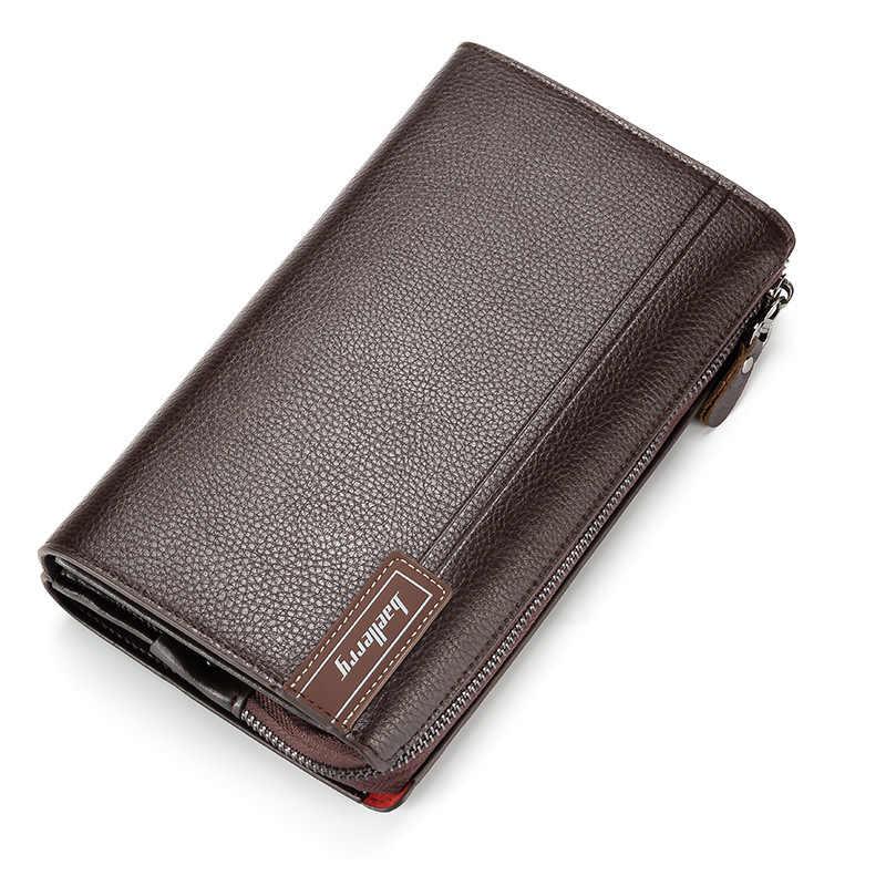 Роскошные кошельки с карманом для монет, Длинный кошелек на молнии для мужчин, клатч, деловой мужской кошелек, двойная молния, винтажный большой кошелек