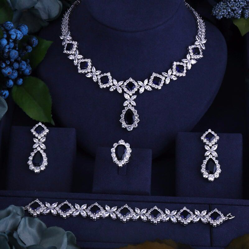 cubic zirconia necklace bracelet earrings and ring 4pcs dubai full wedding jewelry sets more for women