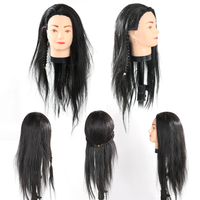 Professional Styling Head 65cm Black Hair Hairdressing Training Head Mannequin Practice Head