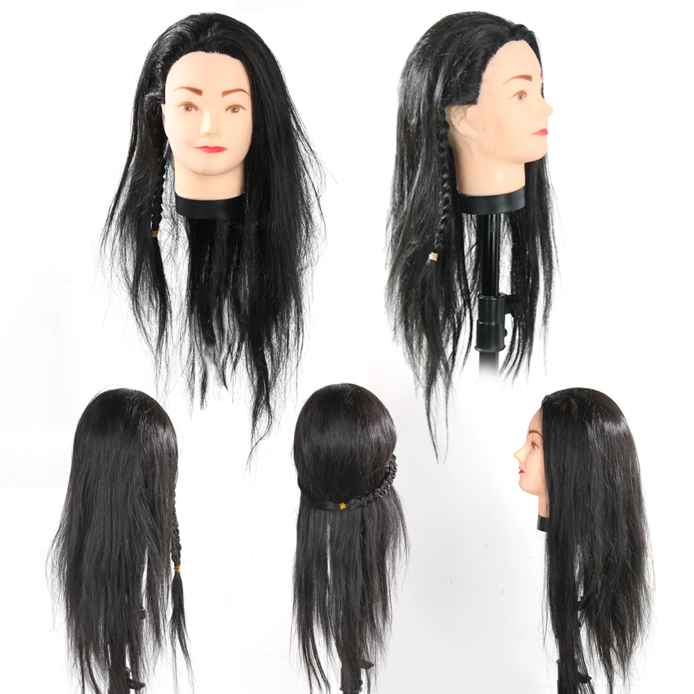 Professional Hairdressing Styling Head 65cm Black Hair Hairdressing Training Head Mannequin Practice Head