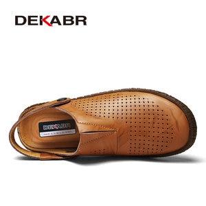 Image 2 - Мужские сандалии из сплит кожи DEKABR, коричневая летняя пляжная повседневная обувь, воздухопроницаемые туфли ручной работы для мужчин, лето 2019