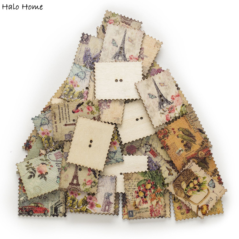Rectangle 30pcs 2 Hole Mixed Postage Stamp Wood Buttons 38x30mm