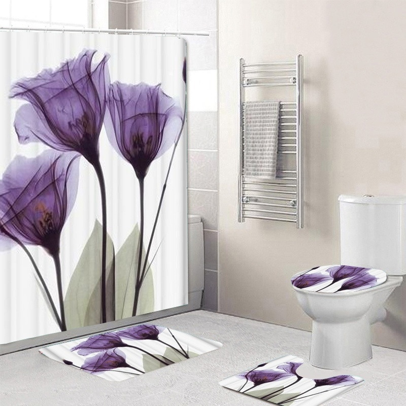 LANGRIA 4pcs Bathroom Shower Curtain Flower Print Durable Waterproof Bath Curtain Set Toilet Cover Mat Non-Slip Bathroom Rug Set