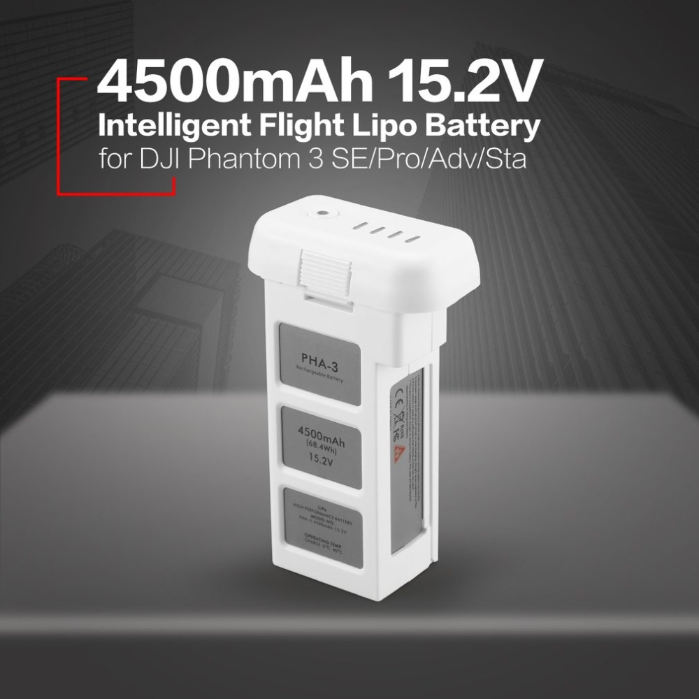 все цены на 4500mAh 15.2V 4S Intelligent Flight LiPo Battery with Safe Bag for DJI Phantom 3 SE Professional Advanced Standard RC Drone онлайн