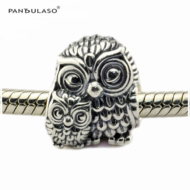 2016 Autumn Charming Owls Mother and Child Beads Sterling-Silver Beads Fits Pandora Bracelets DIY Whloesale Woman Jewelry