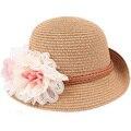 Chapéu de praia 2016 Primavera verão Crianças flor cúpula chapéu de palha bebê meninas da praia chapéus crianças chapéu de sol da praia das senhoras cap sombrero de paja