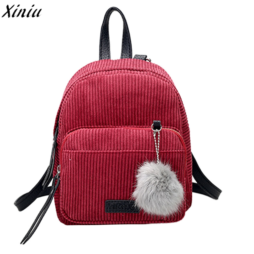 School Bag for Girl Vintage Corduroy Solid Travel Backpacks Striped Pompon Cute Shoulder Bag 1