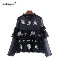 Lanbaiyijia Европа Америка Горячая Вышивка Хризантема ламинированная блузка женская рубашка прозрачная вуаль шифон Рубашки s m l