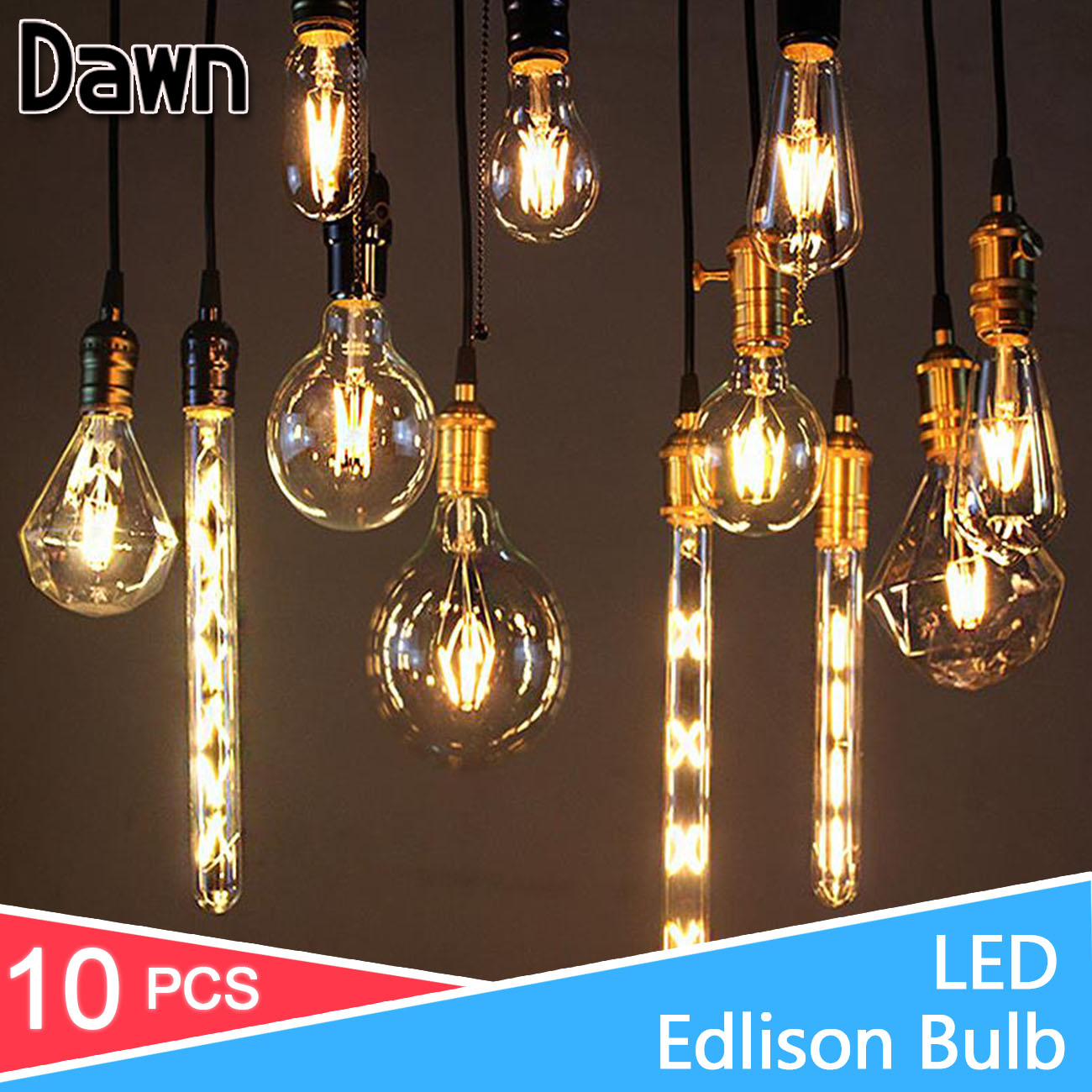 10pcs Antique LED Lamp 220V Filament Light E27 E14 LED Bulb 2W 4W 6W 8W Vintage Edison Bulb Glass Led Specialty Decorative Light