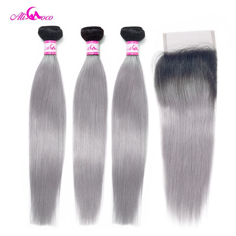 Ali Coco Brazilian Straight 1B Grey Bundles With Closure 100% Human Hair With Closure Omber Remy Hair Weave Extensions