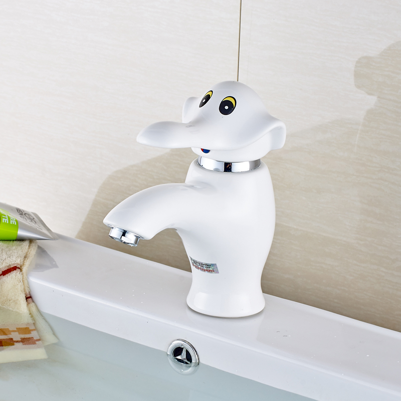 Elephant Style Deck Mounted Bathroom Sink Faucet Hot and Cold Water ...