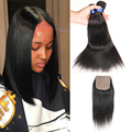 Brazilian virgin hair with closure straight silk base closure with bundles human hairbrazilian hair weave 3 bundles with closure