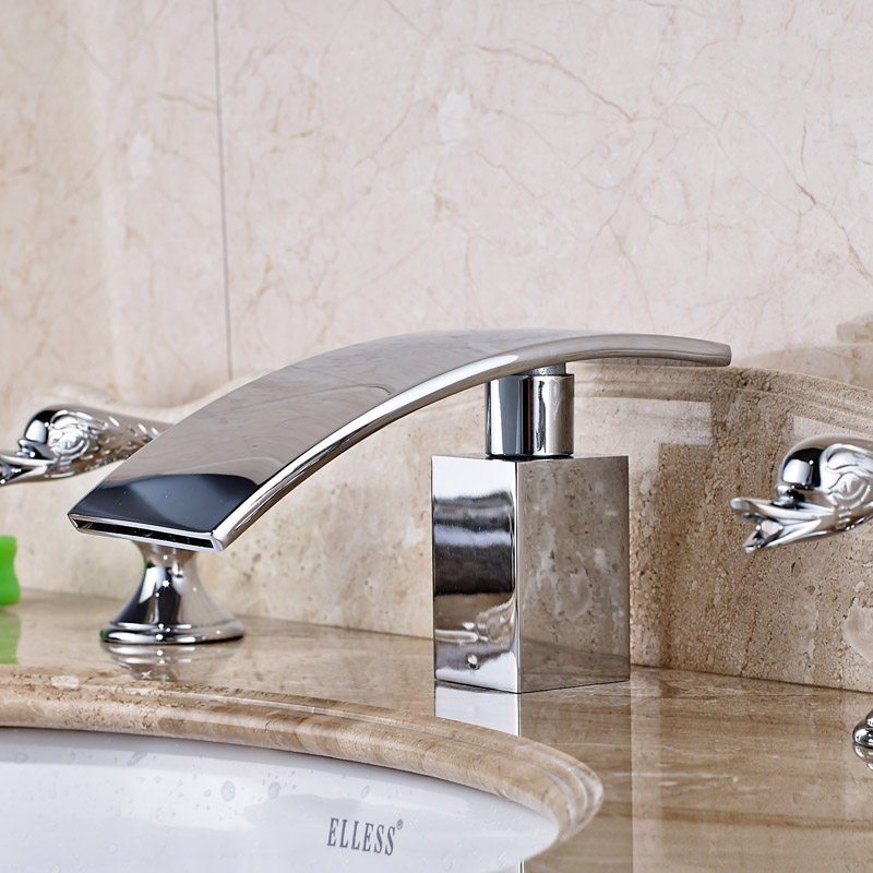 Newly Design Wash Basin Sink Faucet With Two Holders Three Holes Chrome Water TapsChina