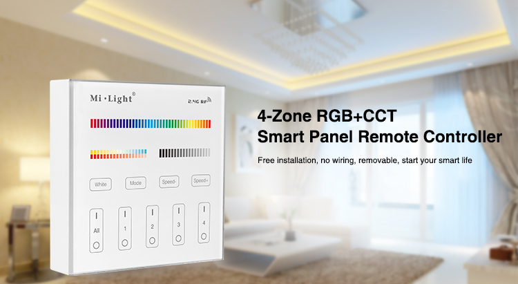 Milight B4 4-sone RGBW RGB RGBW + CCT Smart Panel Fjernkontroll for led stripelys lampe pære led tape bånd Gratis frakt