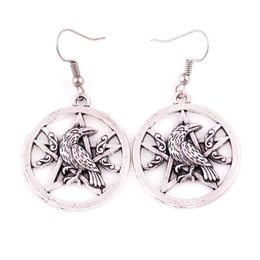 Античные серебряные серьги пентаграмма в виде ворона, Луны, темной Луны, Морриган, ворона, маг, подвески для женщин, ювелирные изделия