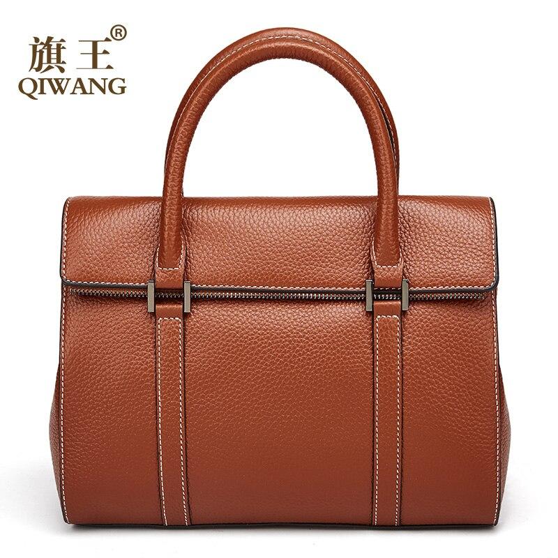 Qiwang Women Bag Real Leather Women tote Hand bag Luxury Brand Leather Women handbag lady tote bag Luxury