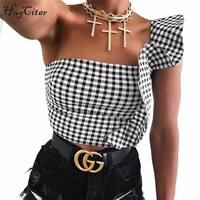 Hugcitar Black White Plaid Crop Top With Ruffles 2018 Women Sexy Tank Tops Female Fashion Bodycon