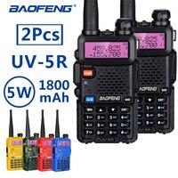 2Pcs BaoFeng UV 5R Professional Walkie Talkie 5W VHF/UHF baofeng uv 5r two way Ham portable uv5r CB radio Station hf transceiver