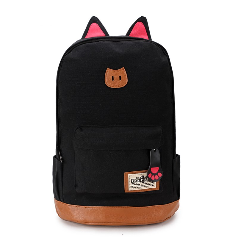 2019 Korean Edition College Wind Shoulder Bag Backpack High School Bag, Cat Ears, Canvas Satchel, Cool Backpack, Leisure Compute