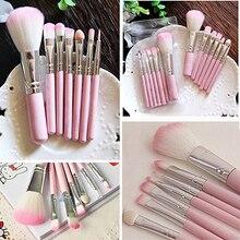 New arrival! 7Pcs Pro Pink Handle Face Lip Eye Shadow Eyeliner Cosmetic Tool Makeup Brush Set