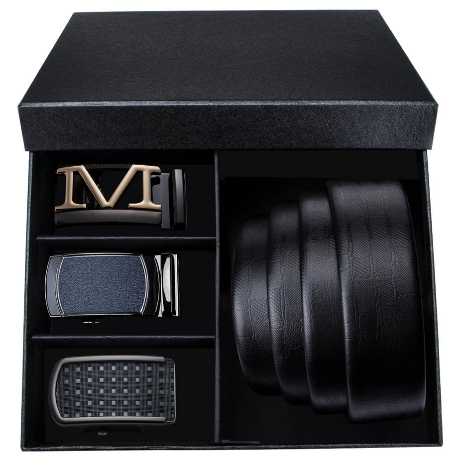 DiBanGu Luxury Designer Men Leather   Belt   with Alloy Buckle Smooth Automatic   Belts   for Men Gift Box Leather Jeens Strap DK195558