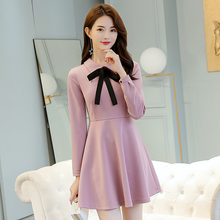 2019 Temperament New Spring Bow Tie Long-sleeve Stand Collar OL Office Lady Dress цены