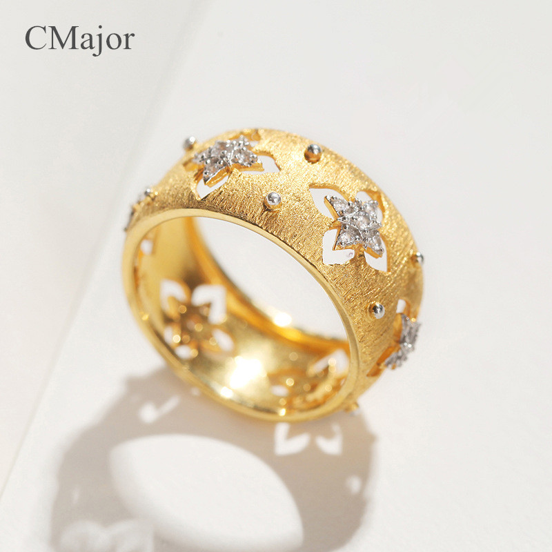 CMajor 925 silver jewelry hollow four-leaf clover rings elegant vintage palace gold St. Patrick's Day rings for women equte women s vintage double birds four leaf clover style weave bracelet white blue
